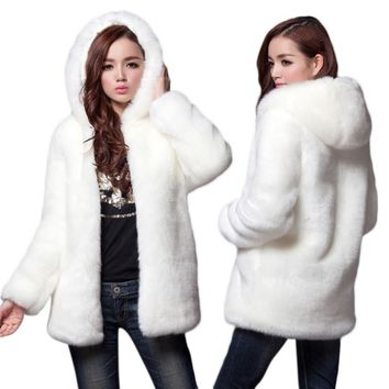 Autumn Winter Thick Fur Women Faux Fur Warm Coat Female New Design Medium-long Hooded Rabbit Fur Coats Jackets