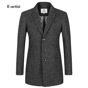 Men's Slim Fit Casual Long Wool Trench Coats Jackets Male Winter Thick Pea coat Outwear Overcoats