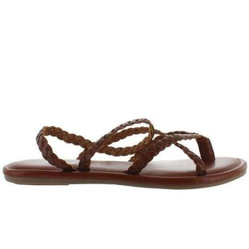 Mia Braid   Brown Leather Strappy Flat Thong Sandal