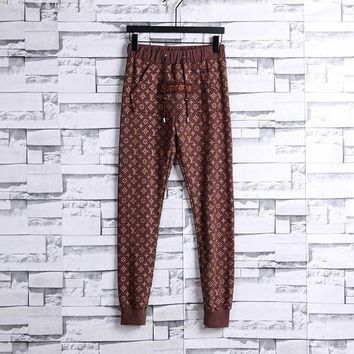 ONETOW Supreme x LV Louis Vuitton Casual Print Pants Trousers Sweatpants