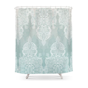 Society6 Lace & Shadows - Soft Sage Grey & White Moroccan Doodle Shower Curtains