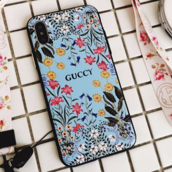 GUCCI iPhoneX female fashion flower lanyard phone case F0271-1 Blue