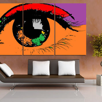 Modern Canvas Print, Modern Art Print, Eye Wall Decor, Eye Wall Art, Contemporary Art, Modern Drawing, Extra Large Canvas Office Decor LC075