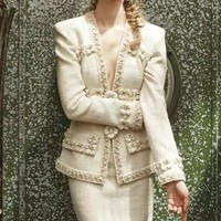 2017 Runway paris cosmopolite tweed jacket suit with emboridery luxury designer women beaded braid applique coat elegant outfit