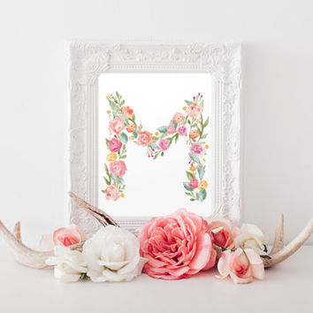 Flower Letter Watercolor 8x10 Print - Letter M