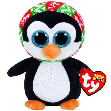 "Ty Beanie Boos 6"" 15cm Penelope Christmas Penguin Plush Stuffed Animal Collectible Doll Toy"