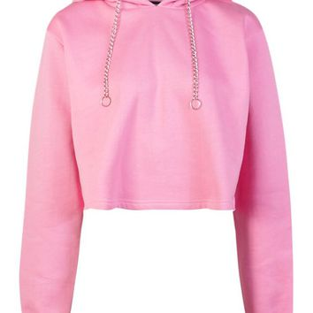 Alice Metal Chain Drawcord Hoody | Boohoo