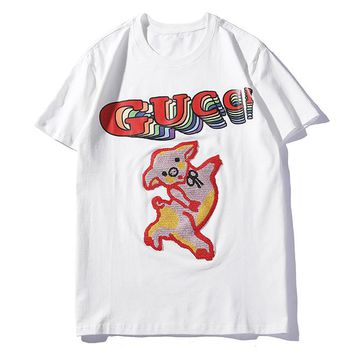 GUCCI Summer Fashion Women Men Casual Embroidery Print Short Sleeve T-Shirt Top White