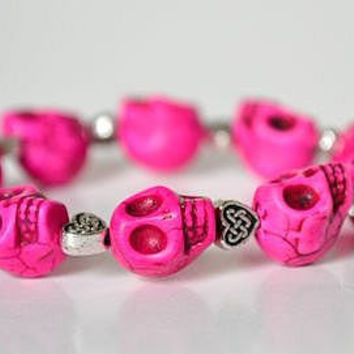 Pink Day of the Dead Skull Bracelet with Silver Heart Beads (Dia De Los Muertos - All Saints Day)