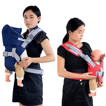 New Good Quality Baby Adjustable Carriers Infant Sling Wrap Breathable Backpack Kid's Tools Red/ Blue
