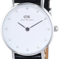 Daniel Wellington Women's 0921DW Classy Sheffield Stainless Steel Watch With Black Leather Band
