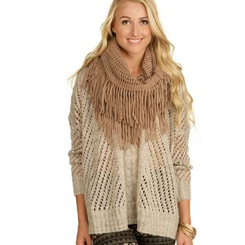 Taupe Square Fringe Infinity Scarf