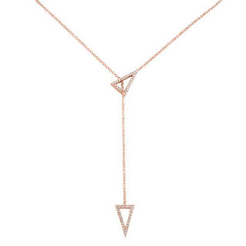 0.17ct 14k Rose Gold Diamond Triangle Necklace