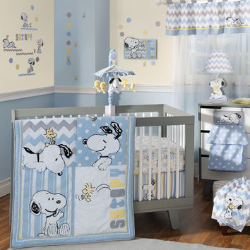 Lambs & Ivy 6 Piece My Little Snoopy Baby Crib Bedding Set w/ Bumper & Mobile