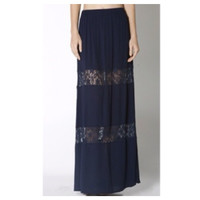 "In Style  ""Lovely in Lace"" Navy Lace Paneled Maxi Skirt, Boho, Women's Apparel"