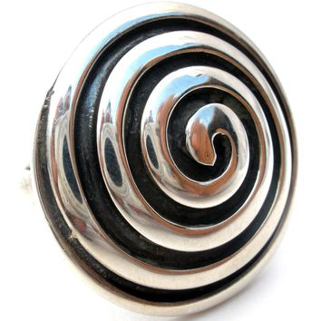 950 Sterling Silver Ring Round Dome Vintage