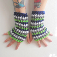 Striped Wrist Warmer Gloves in Seattle Team Colors, ready to ship.