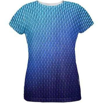 CREYCY8 Halloween Blue Ice Dragon Scales Costume All Over Womens T Shirt