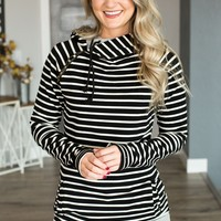 Double Hooded Sweatshirt - Black Stripe