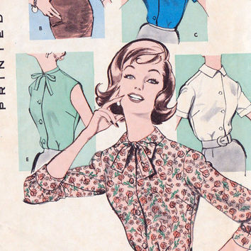 1950s Misses Blouse Vintage Sewing Pattern, Mad Men, Office Fashion, Secretary Blouse, Butterick 9405 bust 36""