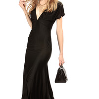 Black Widow V Neck Mermaid Maxi Dress