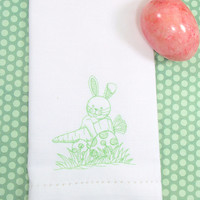 Easter Bunny & Carrot Embroidered Cloth Napkins /Set of 4/ spring napkins, Embroidered napkins, Easter napkins, bunny napkins, Easter table