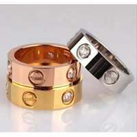 Cartier Fashion Couple Rings Women Ring Rhinestone Ring
