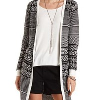 Open Front Geometric Print Cardigan by Charlotte Russe