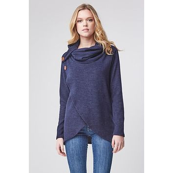 Criss Cross Cowl Neck Top - Navy