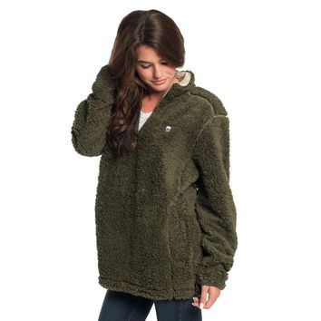 PRE-ORDER Sherpa Pullover with Pockets in Olive Night by The Southern Shirt Co.