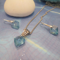 swarovski small adjustable free form pendant and earring set in silver with aquamarine stones. #233