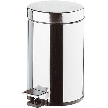 DI Round Step Trash Can, Stainless Steel Wastebasket W/ Lid - Brass Chrome