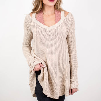 Stone Waffle Knit Cut Out Sweater
