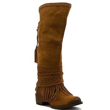 LMFYW3 Naughty Monkey Zarape Tan Tall Fringe Boots