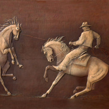 Mustang, 3D leather, leather handmade, Artwork ,Cowboy , Home Decor ,Wall Art, Contemporary Art,horse,Home Design,wild horse,Art