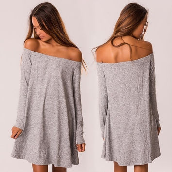 New Women Fashion Casual Off Shoulder Loose Long Sleeve Pullover Dress = 5617132993