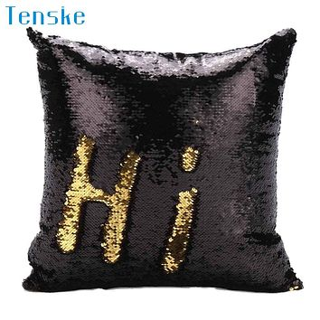 Best New Created Hot DIY Two Tone Glitter Sequins Throw Pillows Decorative Cushion Case Sofa Car Covers  Free Shipping Aug16