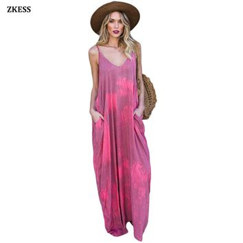 Zkess New Women Rosy Multi Color Tie Dye Holiday Maxi Dress Casual Loose Fit Sleeveless Boho Beach Dress with Pockets LC610003