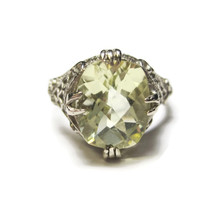 14K White Gold Art Deco Yellow Green Amethyst Filigree Ring Size 7