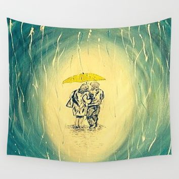 Walking In The Rain  Wall Tapestry by Annette Forlenza