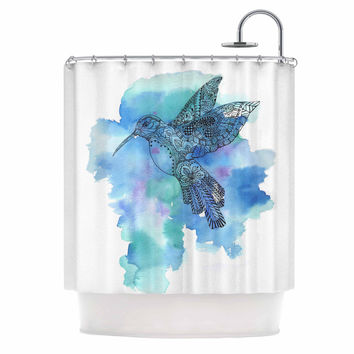"Sonal Nathwani ""Hummingbird"" Blue Watercolor Shower Curtain"