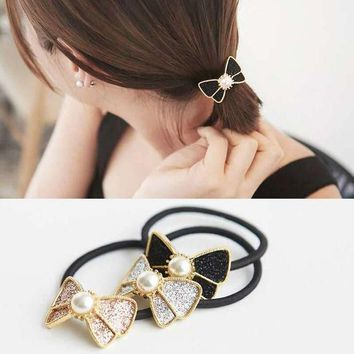 PEAP78W 1Piece Women Crystal Sweet Pearl Hair Band Rope Elastic Ponytail Holder Bowknot Chic