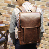 Men's Brown Leather Backpack Laptop Travel Fashion Bag
