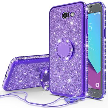 Samsung Galaxy J3 Emerge Case, J3 (2017) Case, Glitter Cute Phone Case Girls with Kickstand,Bling Diamond Rhinestone Bumper Ring Stand Sparkly Luxury Clear Thin Soft Protective Samsung Galaxy J3 Emerge Case, J3 (2017) Case for Girl Women - Purple