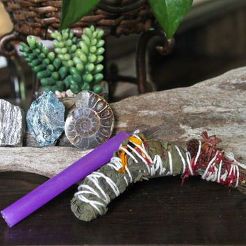 "Past Life Set including Ammonite Fossil, Labradorite, Blue Apatite, Homegrown Organic Sage Bundle w/ Flowers, 4"" Purple Candle, Pagan Ritual"