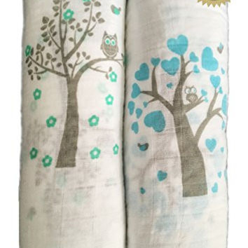 Muslin Swaddle Blankets 2 Pack - 47 inch x 47 inch Large Softest Muslin Swaddles - Half Price for Promotion - Tree Bird and Owl - Unisex for Boys or Girls - Lifetime Guarantee