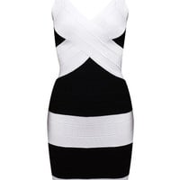 Sleeveless Striped Bodycon Dress
