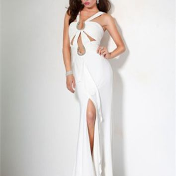 strap Column open back white Long with Sequins Prom Dress PD0841