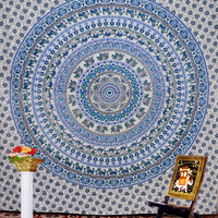 "Whit Indian Elephant Mandala Sheet  tapestry Hippie Hippy Wall Hanging Wall Decor Bed Spread Wall art,Beach Coverlet Throw, Curtain 92"" x85"""