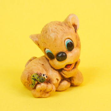 Cute Kitschy Lion Figurine with a Green Inch Worm Friendship Gift Paperweight